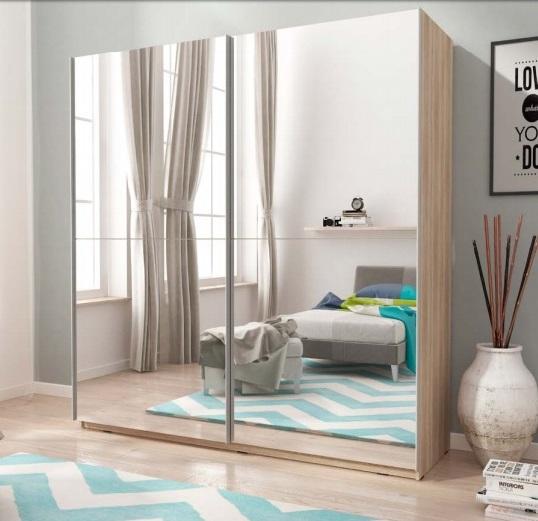 kleiderschrank mika 3 breite 200 cm mit spiegel schwebet renschrank eiche sonoma ebay. Black Bedroom Furniture Sets. Home Design Ideas